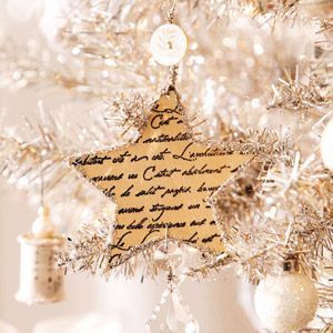 How to make 31 beautiful handmade Christmas ornaments like this Script-Star from Better Homes & Gardens