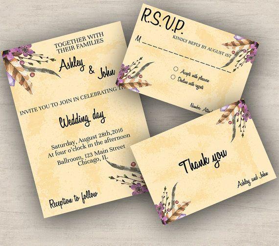 Bohemian wedding invitation suite boho by DigitalDreamerStudio #weddinginvitation #gamestoneinvitation #bohoweddinginvitationsuite #bohoweddingset #printableweddinginvitation #weddinginvitations #weddings #weddingorganization