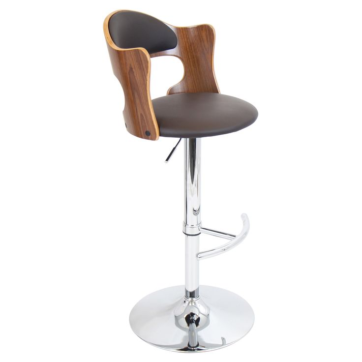 lumisource cello adjustable bar stool walnut brown from