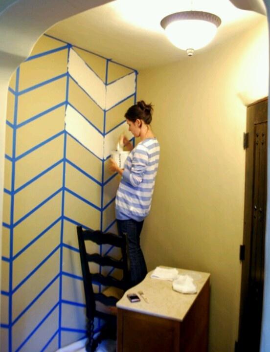 DIY Chevron painted walls!