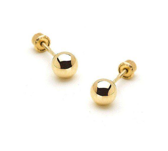 14k White Gold 2-8mm Plain Hollow Gold Ball Children Friction Baby Girls Pushback Earrings