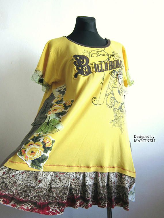 XL/XXL Tshirt Recycled Dress Hippie Dress Pop Art Dress Roses