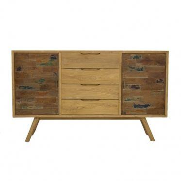 Meuble avec de belles finitions en bois de teck massif naturel de belle qualité. Les 2 portes sont habillées d'un patchwork en bois massif légèrement coloré dans un dégradé de teintes de bruns, bleus et bordeaux.