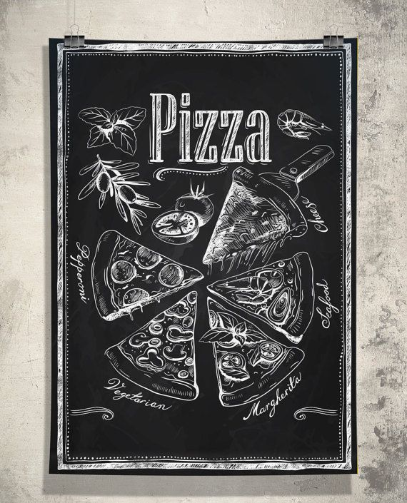 """Kitchen Chalkboard-Chalkboard Pizza Types Italian-Fast Food-Cooking-Chef-Tomatoes-Olives-Italian cuisine-Pizza Slices-Print 13x19"""" No.781"""