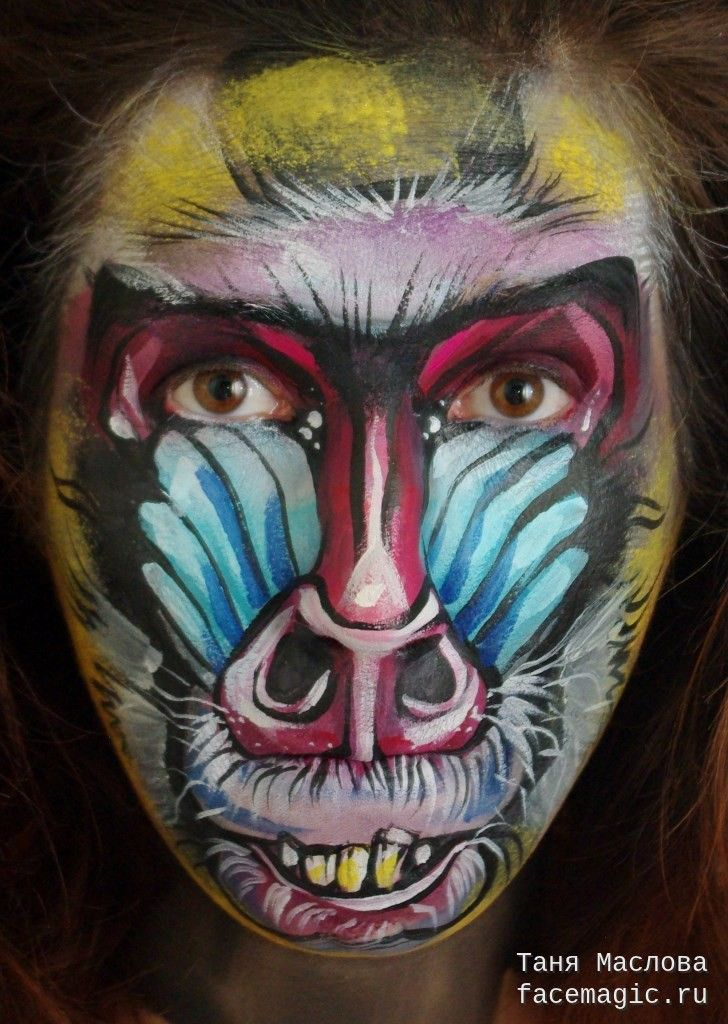 Mandrill monkey. Face paint by Tanya Maslova.