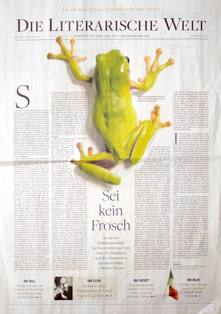 An Award of Excellence goes to Die Welt of Berlin, Germany, for Features Design Pages, Arts & Entertainment. #snd35
