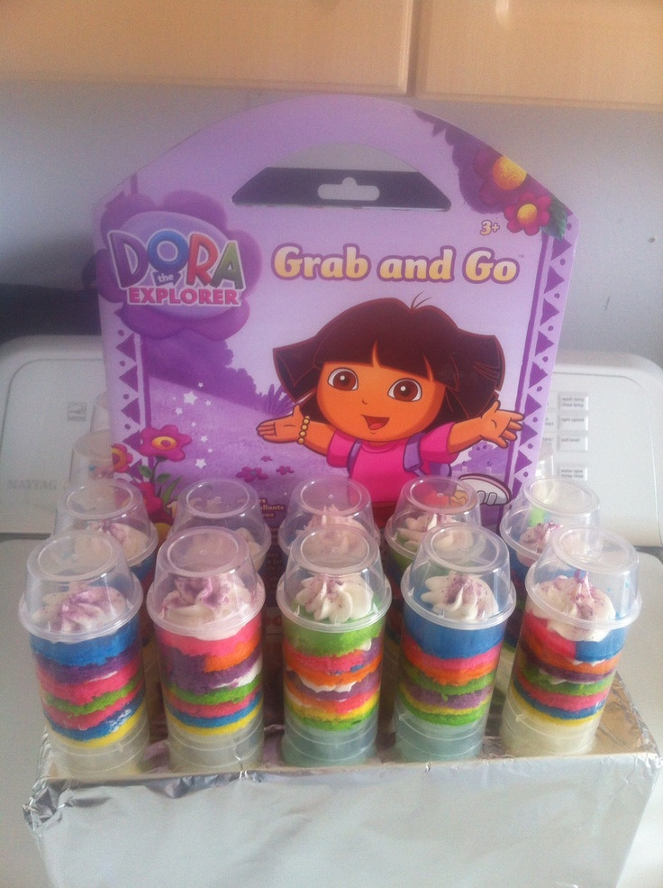 Dora rainbow Push Pops made from vanilla cake and classic buttercream icing and homemade edible glitter! Great for Birthdays and other kids parties!!