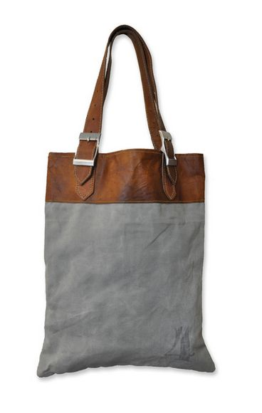 Buy old army bags for the canvas part. recycled Canvas Leather Bag