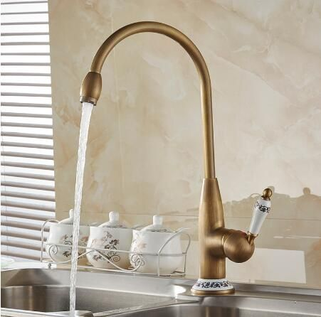 Free Shipping New Style Antique Brass Kitchen Faucet 40cm Height Kitchen  Sink Basin Faucets Mixer Tap