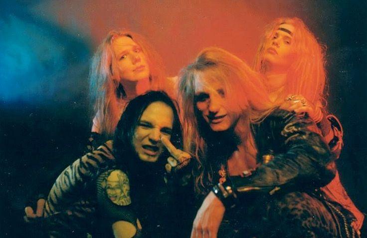 Crashdïet (2000-2002) with the original line-up. Left to right: Tobias Forge (as Mary Goore) guitarist, Gustaf Lindström aka GRGA (as Mace Kelly) bassist, David Roberto Hellman aka Dave Lepard (R.I.P.), vocals/rhythm guitar and Thomas Daun (as Tom Bones) drummer.