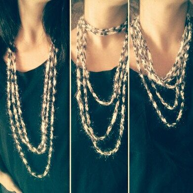 A beautiful , easy to wear ,in many ways , handmade jewelry set!...Necklace and bracelet in black and white!... Visit my shop to see more...😀