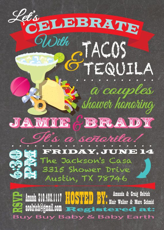 fiesta tacos and tequila couples baby shower invitations with great