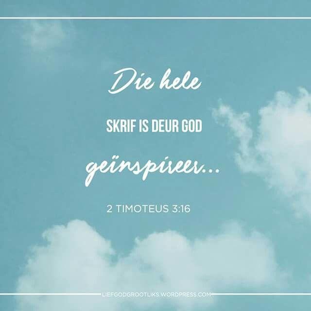 Week 6 – 1 & 2 Timoteus - Ons word geroep om die volgende generasie aan te moedig Dinsdag LEES: 3:10-17 SOAP: 3:16-17 Liewe Jesus,  Dankie dat U ons lief genoeg het om ons U Woord te gee. Help ons om dit te lees, te verstaan, en te weet hoe om dit toepaslik op ons lewens toe te pas. Verhoog ons begeerte om in U Woord te wees en spreek daagliks met ons daardeur. Amen.