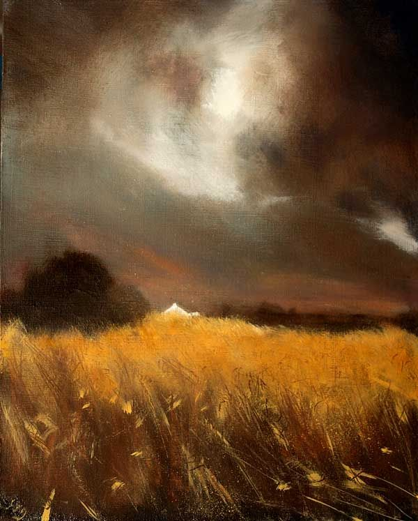 """The Golden Fields"" by John O'Grady. Acrylic on panel of landscape in Ireland."