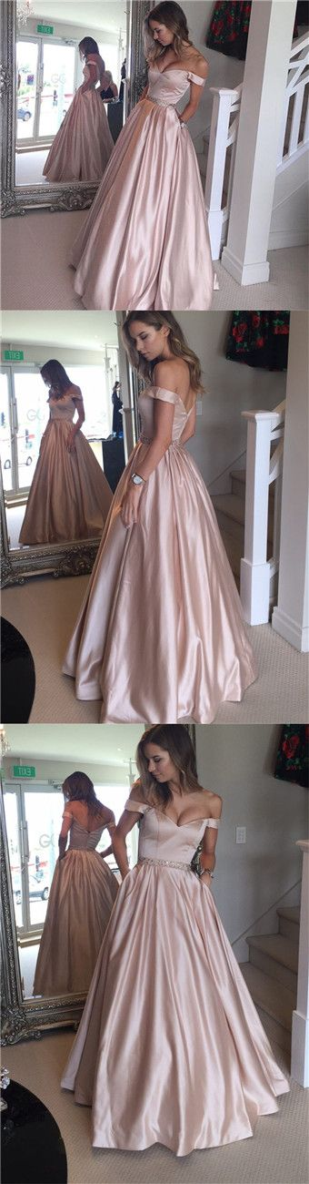Pearl Pink Pockets Prom Dress - Off Shoulder Floor Length with Beading off shoulder prom dress, floor length, pearl pink prom dress, pockets prom dress, beading prom dress, beaded prom dress, long prom dress, pink prom dress