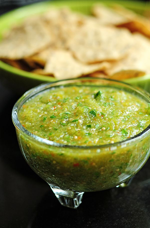 Tomatillo Salsa Verde Recipe - tomatillos, jalapeños, onion, garlic, cilantro and salt