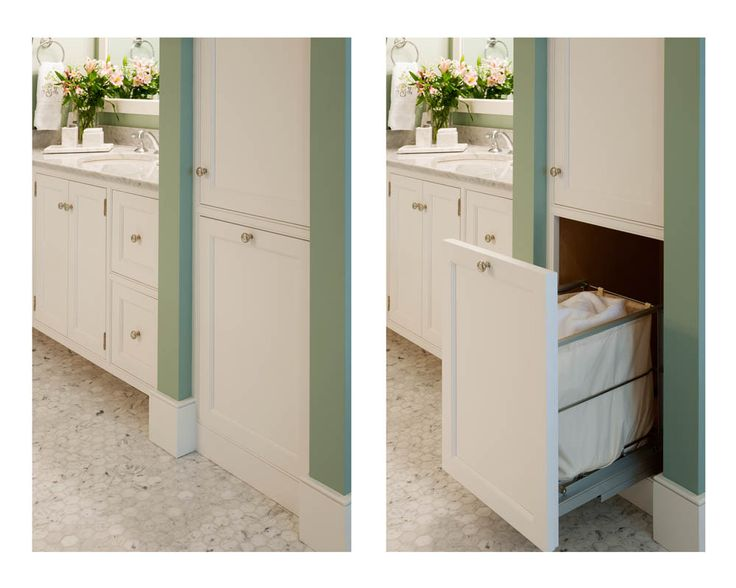 Custom Roll Out Hamper In The Master Bath. Cabinetry Is Handcrafted From  Maple, Finished In Soft White Classic Paint.