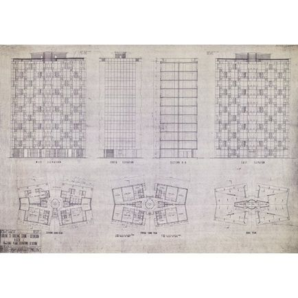Design for Sivill House, Columbia Road, Bethnal Green, London: elevations, plans and section of Block J | Lubetkin | RIBA