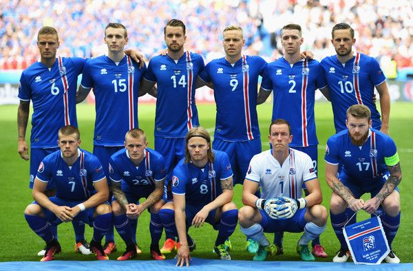 The Iceland team line up before the UEFA EURO 2016 Group F match between Iceland and Austria at Stade de France on June 22, 2016 in Paris, France.