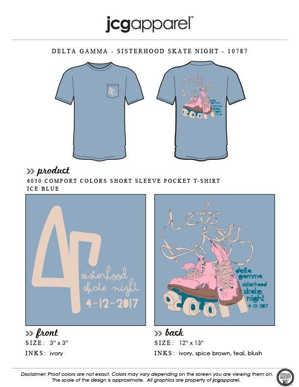 JCG Apparel : Custom Printed Apparel : Delta Gamma Sisterhood Skate Night T-Shirt #deltagamma #deegee #dg #sisterhood #skate #night #retreat #handdrawn #theyseemerollin