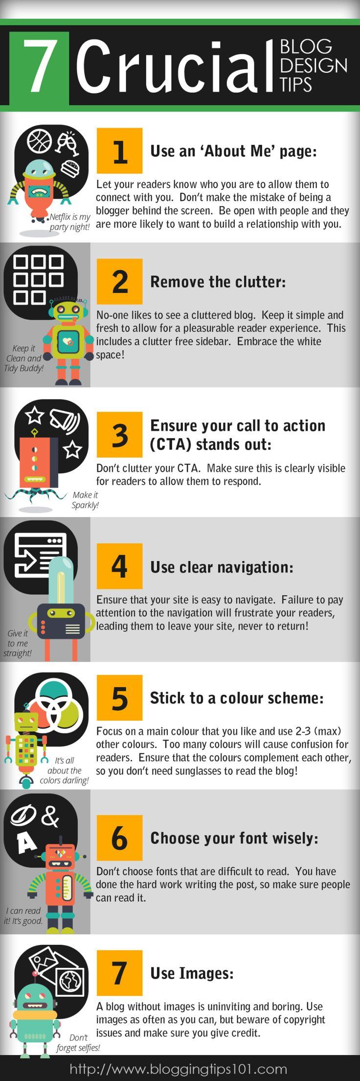 7 consejos cruciales sobre diseño para tu blog #infografia #infographic #design vía: http://bloggingtips101.com