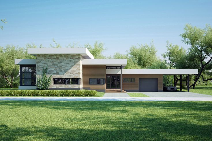 PLAN # 552-6 www.houseplans.com Modern Style House Plan - 4 Beds 2 Baths 1941 Sq/Ft Modern style home designed by Arch L.A.B., elevation