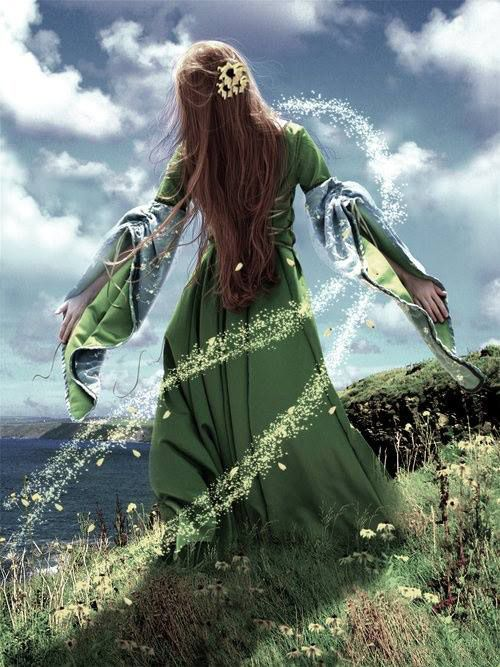 Ériu, the patron goddess of Ireland. When humans first arrived in Ireland, three important sister goddesses, Ériu, Banba and Fódla, all asked that the island be named after them. Ériu was given the honor, and therefore the ancient name of Ireland is Éire.