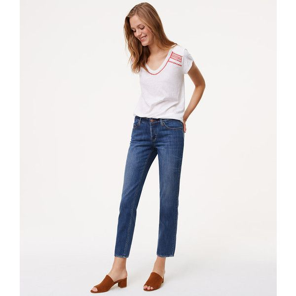 LOFT Tall Unpicked Boyfriend Jeans in Staple Mid Indigo Wash ($70) ❤ liked on Polyvore featuring jeans, staple mid indigo wash, stretch jeans, denim boyfriend jeans, tall jeans, white jeans and relaxed boyfriend jeans