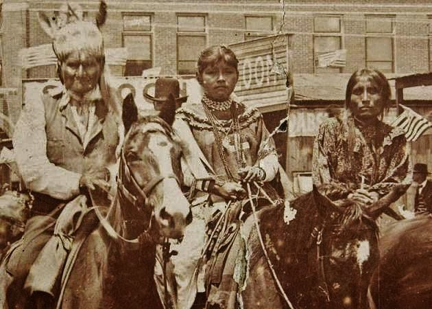 Apache Indians, Chief Geronimo in a parade with two women in Oklahoma, 1903