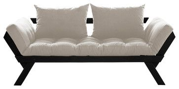 Fresh Futon Bebop Convertible Futon Sofa/Bed, Black Frame, Natural Mattress contemporary-futon-frames