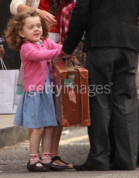 Grace Van Cutsem arrives at the Goring Hotel before the wedding. I adore her trunk. It's adorable.