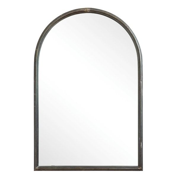 Shop Arched Mirror With Metal Trim Black Overstock 31261710 In 2020 Arch Mirror Mirror Metal Trim