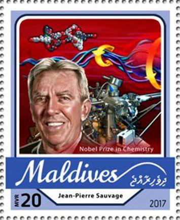 Stamp: Jean-Pierre Sauvage, Nobel Prize in Chemistry (Maldives) (Nobel Prize winners 2016) Mi:MV 6808