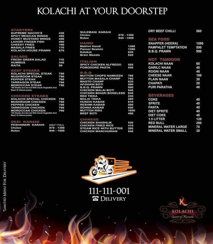 Kolachi Restaurant menu