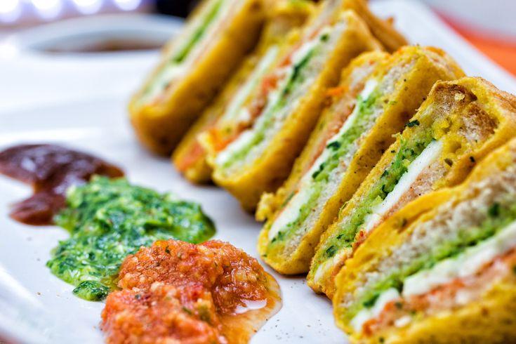 Devnaa sandwich pakoras bread deep-fried Indian vegetarian recipe Afternoon tea Roopa Rawal
