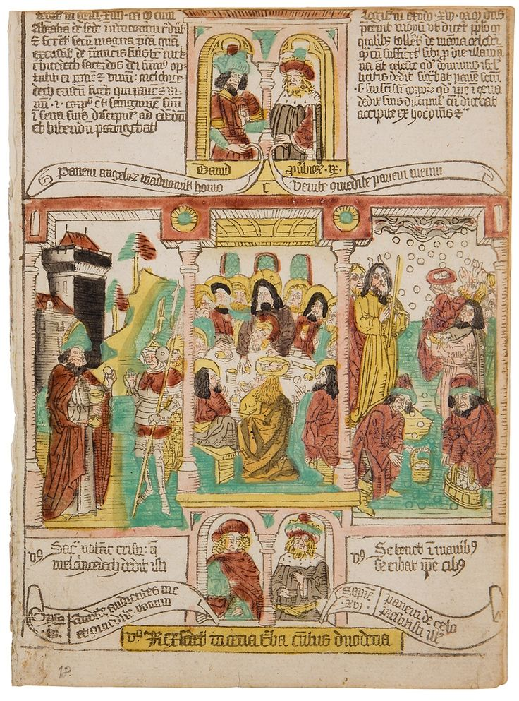 Two bifolia from a blockbook in Latin, Schreiber's edition III. – Blockbooks are characterized by a close relationship between images and explanatory texts, as both were cut and printed from the same wooden block. This technique was especially used for popular religious literature of an edifying and moralizing kind, such...