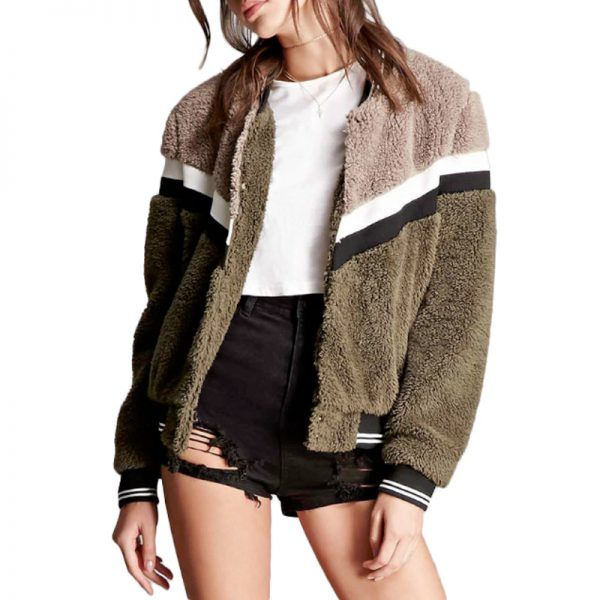 - Forever 21 Striped Faux Fur Bomber Jacket, $38.