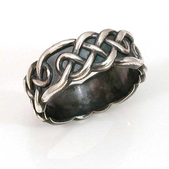 celtic knot mens ring sterling silver handmade wedding