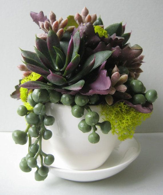 Faux Succulent Planter String of Pearls Plant Purple by rosekraft