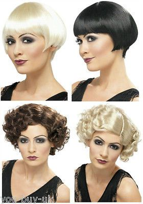 Flapper wigs #1920's jazz #flapper wig bob and curly short wig blonde #black brow, View more on the LINK: http://www.zeppy.io/product/gb/2/111073220404/