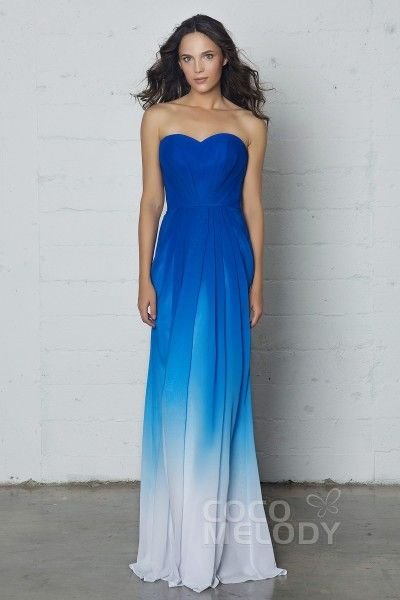 5c117bae050 Charming Sweetheart Natural Floor Length Ombre Chiffon Sleeveless Dress  with Pleating LOZF15045
