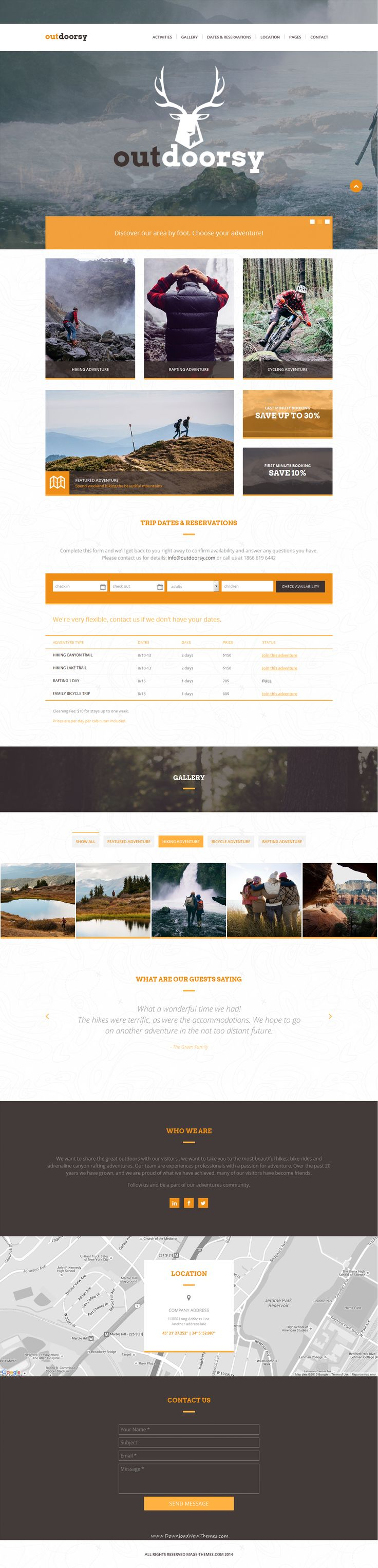 Outdoorsy is simple and modern one page #HTML #template designed for all activity, sports, hiking or outdoor adventures. Create your online presence with our template and showcase your #travel tours, display your rates and special offers, availability calendar, testimonials, Google map.