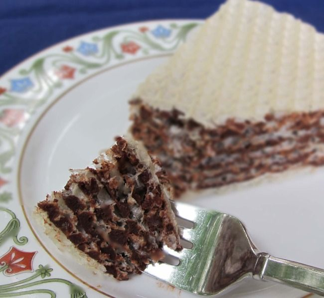 "piece of Russian wafer cake or oblatne (we called it ""oblaten"", my mom would make many different fillings)"