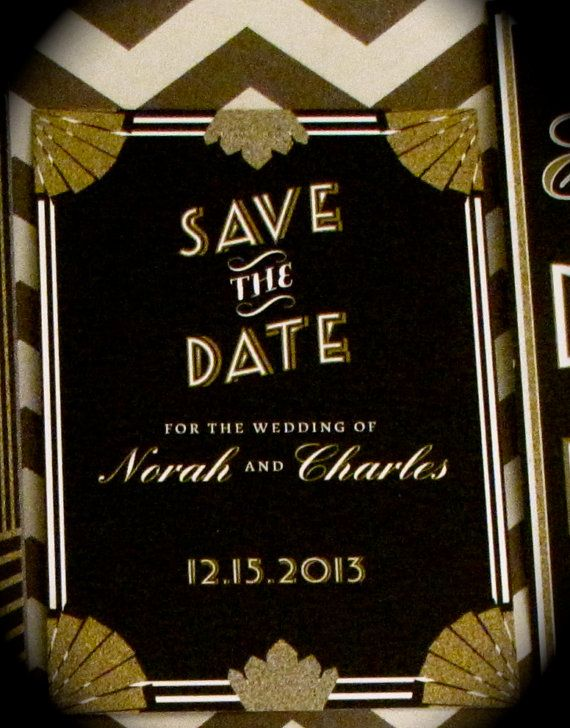 gatsby wedding save the date card down payment art deco wedding gatsby. Black Bedroom Furniture Sets. Home Design Ideas