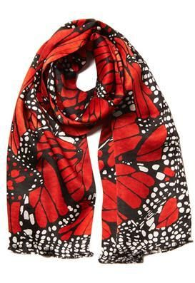 Red Butterfly Silk Scarf