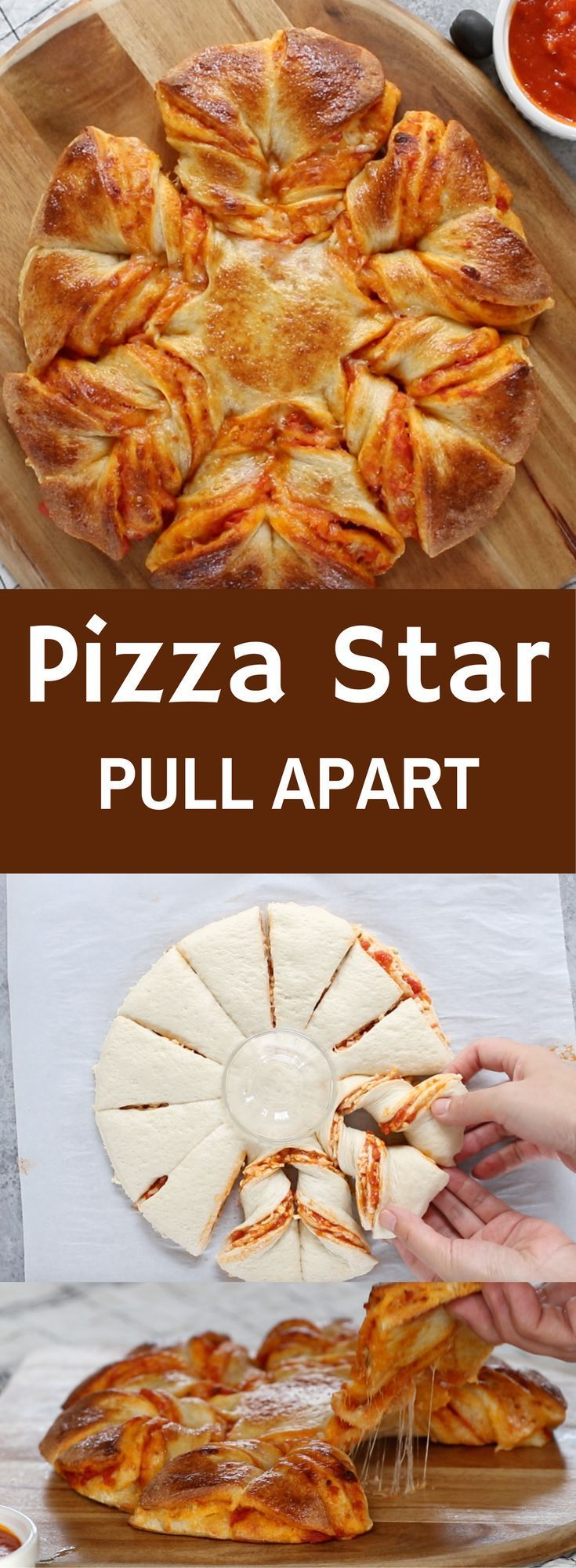 This incredible Pizza Start Pull Apart recipe takes about 5 minutes to prepare, with just 5 ingredients! Leave it in the oven for 20 minutes, and a beautiful mea is ready! And you won't need a knife for serving since it pulls apart…