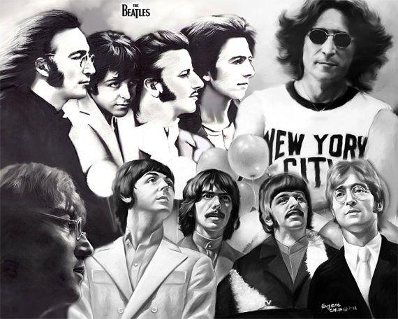 Beatles, drawing, poster, print, 16x20