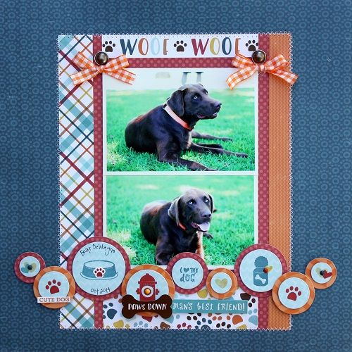 """Woof"" Layout by Shelly McDaniel for #EchoParkPaper featuring their ""Bark"" collection and designer dies."
