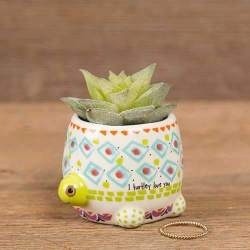 "Terra cotta pot features heartwarming sentiment and includes faux mini succulent plant ""I Turtlely Love You"" Great gift! 1.5in L x 1.5in W x 1in H Two of our fa"