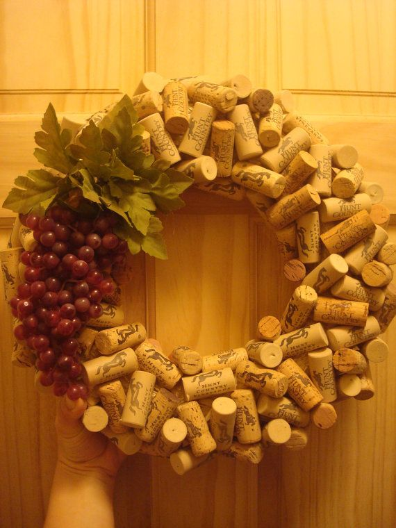 Wine Cork Wreath with Grapes by LikeAFoxCreations on Etsy, $45.00